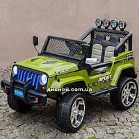 Детский электромобиль M 3237 EBLR-10 кожаное сиденье, зеленый