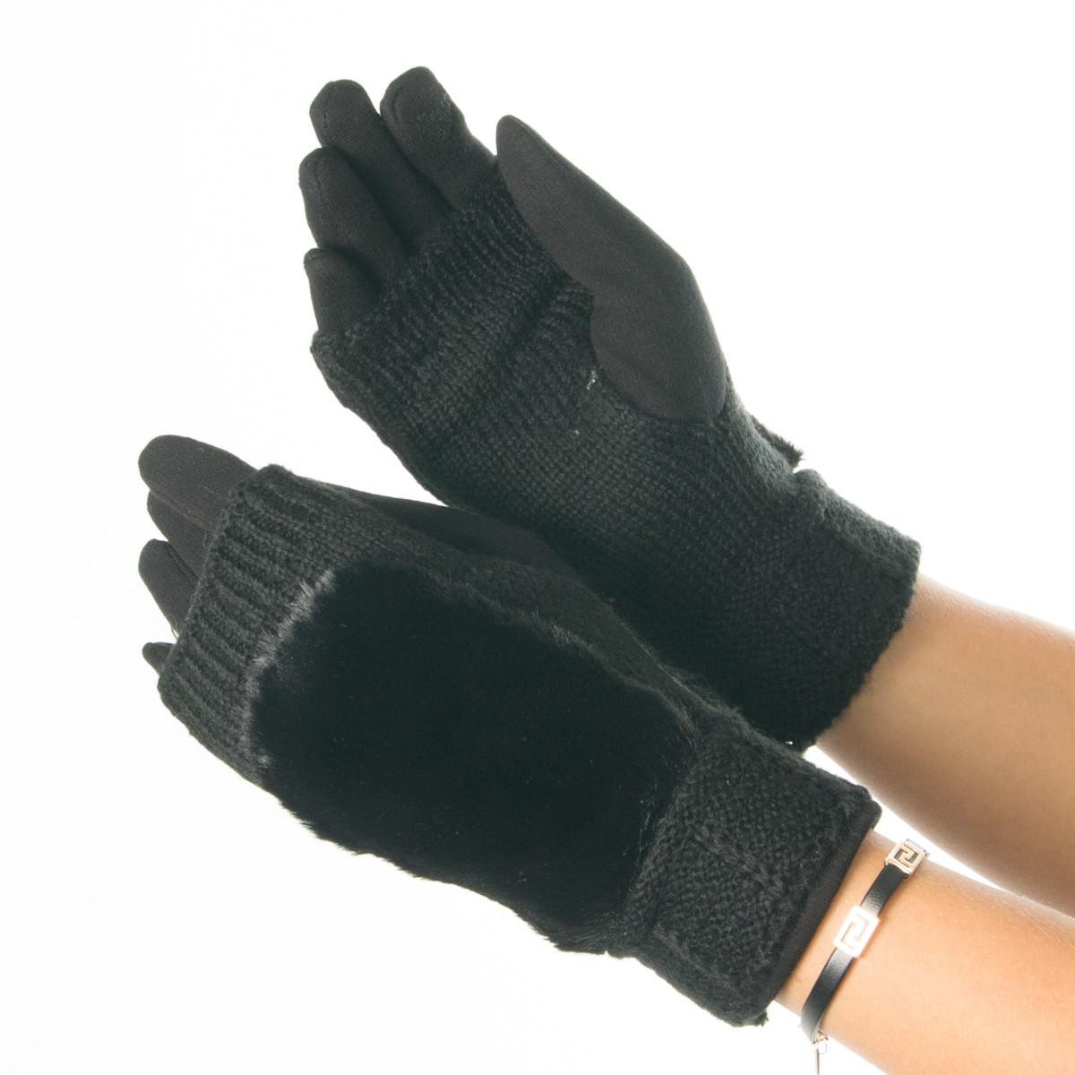 Текстильные женские перчатки-митенки с вязкой № 19-1-55-4 черный M