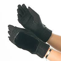 Текстильные женские перчатки-митенки с вязкой № 19-1-55-4 черный M, фото 1