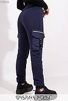 Утепленные брюки высокой посадки на резинке с кулиской и накладными карманами 13928