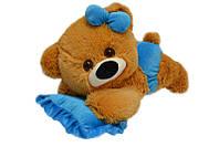 Алина Плюшевая мишка малышка 45 см медовая с голубым