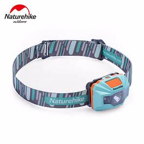 Налобный фонарик NatureHike водонепроницаемый фонарь со встроенным аккумулятором 1200 mAh USB голубой