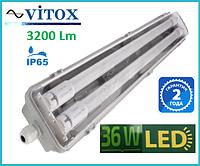 Светильник влагозащищенный c LED лампами Т8  2х18Вт  EVROSVET SH-40 IP65 Slim