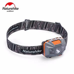 Налобный фонарик NatureHike водонепроницаемый фонарь со встроенным аккумулятором 1200 mAh USB серый