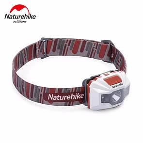 Налобный фонарик NatureHike водонепроницаемый фонарь со встроенным аккумулятором 1200 mAh USB белый