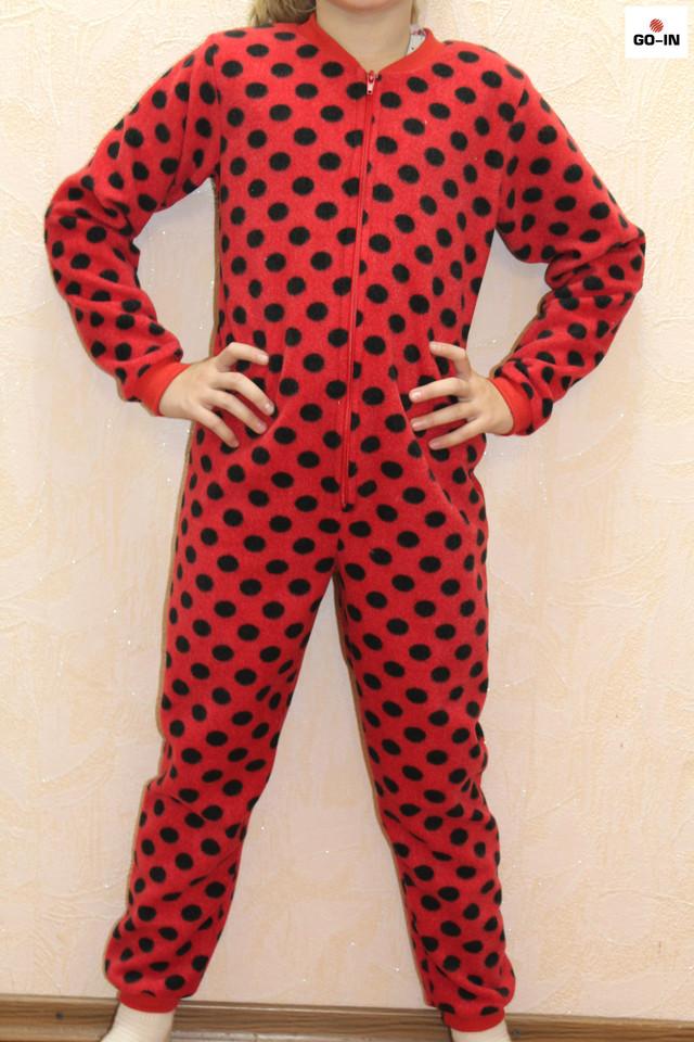 Піжама дитяча куртку для дівчинки червона в горошок 32-40 р.