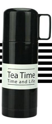 Термос TEA TIME 350 мл. (Черный с белой полосой)