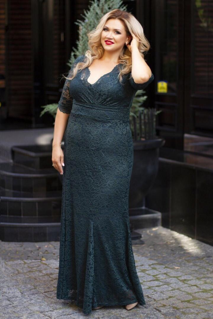 Красивое приталенное женское платье в пол из гипюра  50-52, 54-56, 58-60