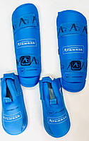 Защита для ног (голень+футы) синяя разбирающаяся  WKF  размер XL для каратэ, единоборств, фото 1