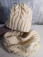 Вязанная зимняя теплая шапка