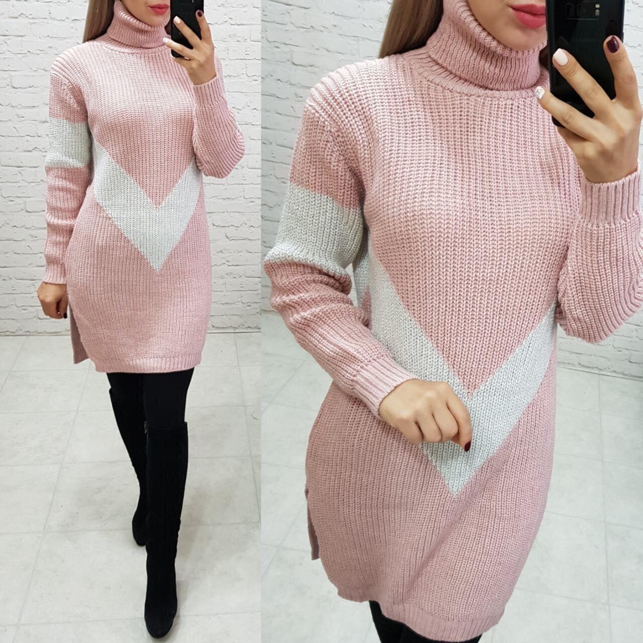 Трикотажное двухцветное платье-туника 44-48 (в расцветках)