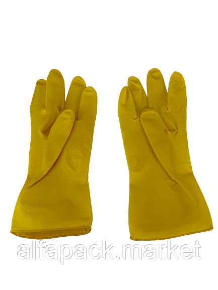 Рукавички гумові, жовті 030001660