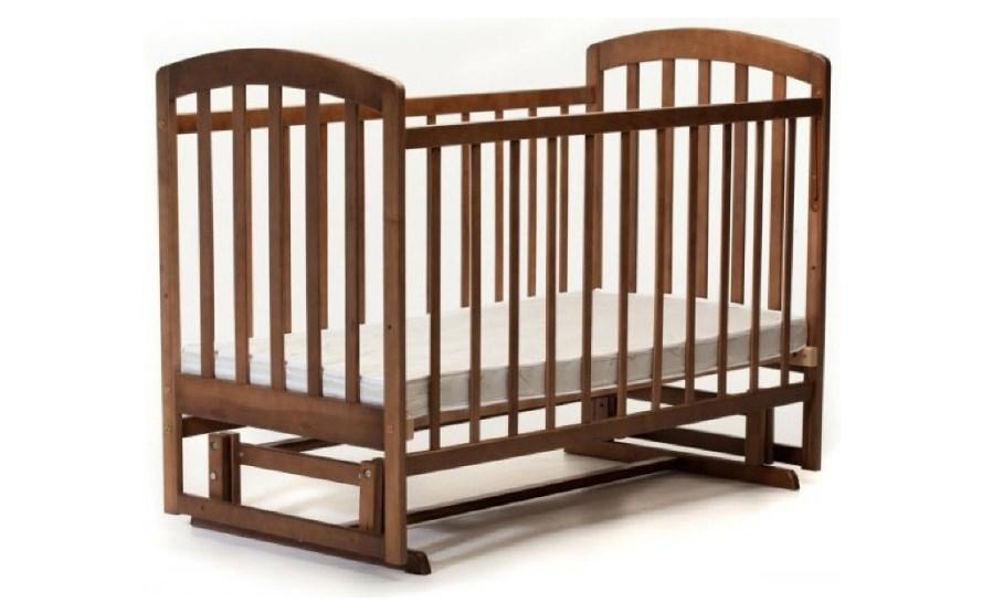 Кроватка для новорожденного Lama (Лама)  поперечный маятник без ящика орех  тм Ласка