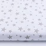 """Лоскут ткани """"Звёздная россыпь"""" с серыми звёздами на белом фоне, № 2401 размер 23*80, фото 2"""