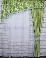 Комплект плотная штора с ламбрекеном и гардина. е841.