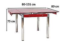 Стол обеденный раскладной Signal GD-082 80-131x80см красный
