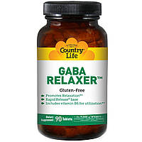 ГАМК (гамма-аминомасляная кислота) для снятия напряжения с ниацином Country Life, 90 таблеток