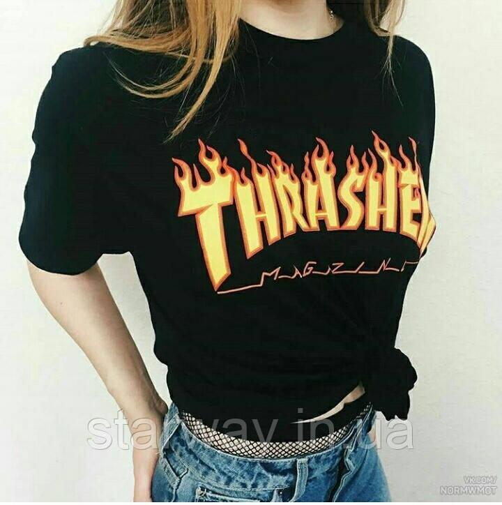 Футболка чёрная принт Thrasher magazine стильная