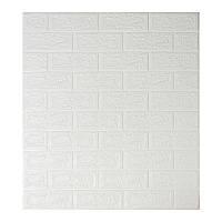 Декоративная 3Д-панель стеновая белый кирпич 700x770x5мм (самоклеющаяся 3d панель для стен)