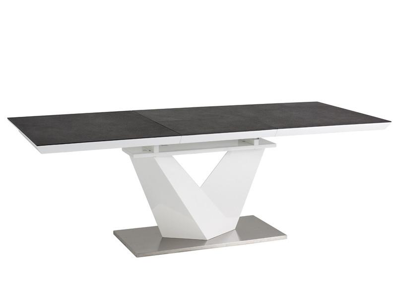 Стол кухонный обеденный на кухню столовый стеклянный раскладной белый, черный ALARAS II 120X80(180) (Signal)
