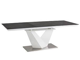 Стол кухонный обеденный на кухню столовый стеклянный раскладной белый, черный ALARAS II 120X80(180) (Signal), фото 2