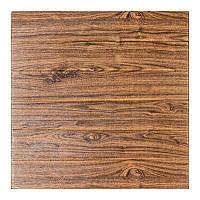 Декоративная 3Д-панель стеновая дерево темный дуб 700x700x6мм (самоклеющаяся 3d панель для стен)