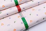 """Сатин ткань """"Клевер и дикий укроп"""" голубой и оранжевый на бледно-розовом №2493с, фото 3"""