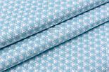 """Сатин ткань """"Двойные треугольники"""" бирюзово-белые, №2490с, фото 3"""