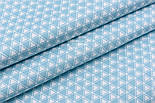 """Сатин тканина """"Подвійні трикутники"""" бірюзово-білі, №2490с, фото 3"""