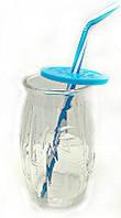 """Стакан банка стеклянная EverGlass 500 мл. для смузи и коктелей с пласт. Голубой  крышкой и трубочкой.""""BAMBOO"""""""