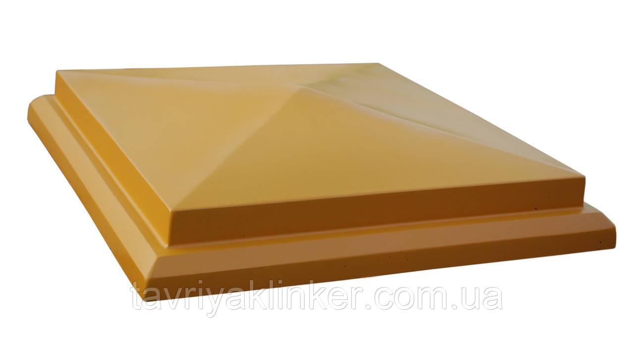 """Крышка на забор бетонная Мегалит """"Пирамида с основанием"""" 445*445*105 мм"""