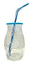 """Стакан банка стеклянная EverGlass 500 мл. для смузи и коктелей с пласт. Голубой крышкой и трубочкой.""""COCONUT"""""""