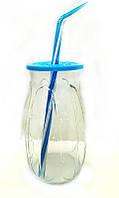 """Стакан банка стеклянная EverGlass 500 мл. для смузи и коктелей с пласт. голубой крышкой и трубочкой.""""Banana"""""""
