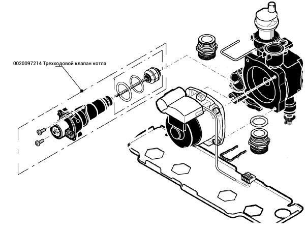 0020097214 Трехходовой клапан газового котла Протерм