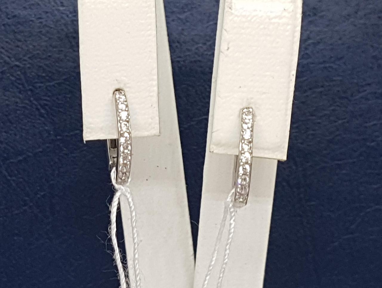 Серебряные серьги с фианитами. Артикул 4880