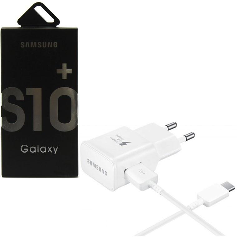 Сетевое зарядное устройство Samsung S10 Fast charger (1 USB 2.0А+Type C) (Белый)