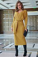 Красивое вязаное платье на запах на подкладе 1261 (42–48р) в расцветках, фото 1