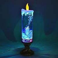 """Свеча """"дельфин"""" светодиодная колба стеклянная 27,5см с блестками внутри, на батарейках, usb-шнур, фото 1"""