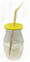 """Стакан банка стеклянная EverGlass 500 мл. для смузи и коктелей с пласт. Желтой  крышкой и трубочкой.""""COCONUT"""""""