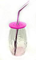 """Стакан банка стеклянная EverGlass 500 мл. для смузи и коктелей с пласт. Розовой  крышкой и трубочкой.""""BAMBOO"""""""