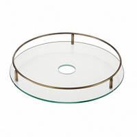 Полка стеклянная c релингом  диаметр 450 мм STS450