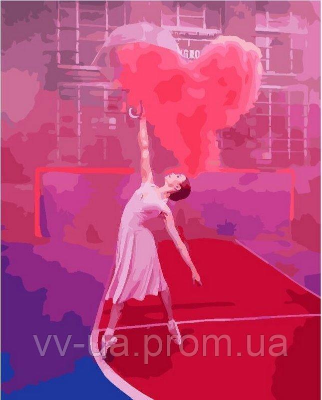 Картина по номерам Балерина с воздушным сердцем, 40x50 см, подарочная упаковка, Brushme (Брашми)