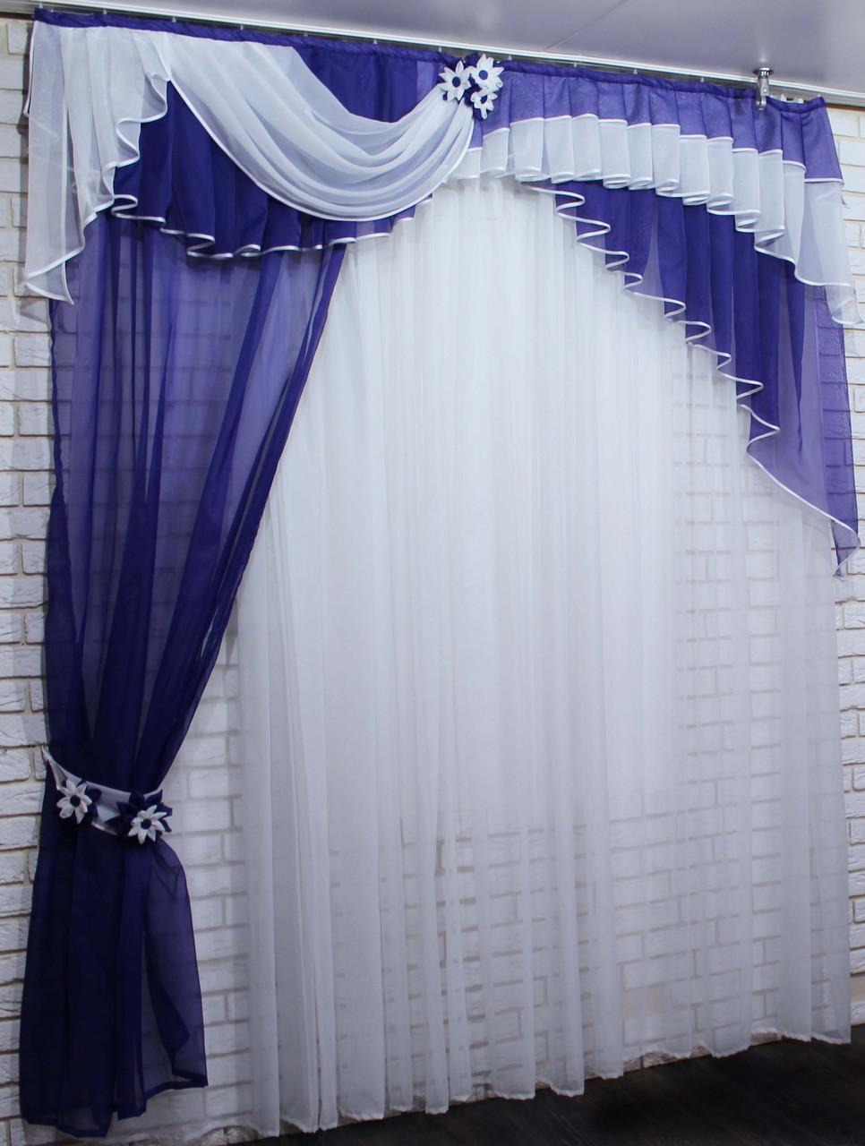 Ламбрекен с шторкой из шифона. Модель №111 Цвет фиолетовый с белым