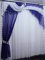Ламбрекен с шторкой из шифона. Модель №111 Цвет фиолетовый с белым, фото 1