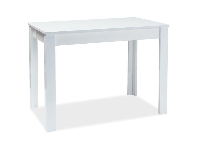 Стол раскладной кухонный обеденный на кухню столовый белый глянцевый ALBERT 100x60(140) (Signal)