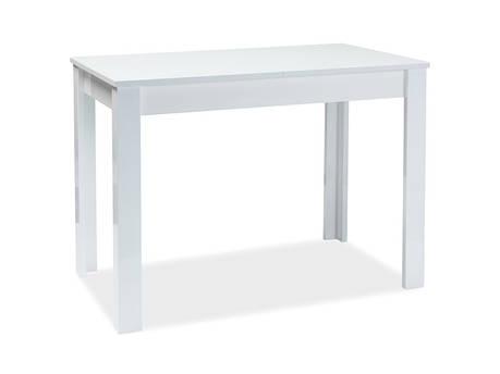 Стол раскладной кухонный обеденный на кухню столовый белый глянцевый ALBERT 100x60(140) (Signal), фото 2