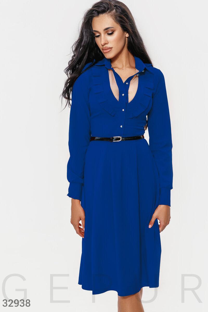 Расклешенное платье миди с воротником синее