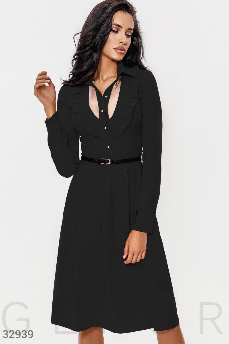 Расклешенное платье миди с воротником черное