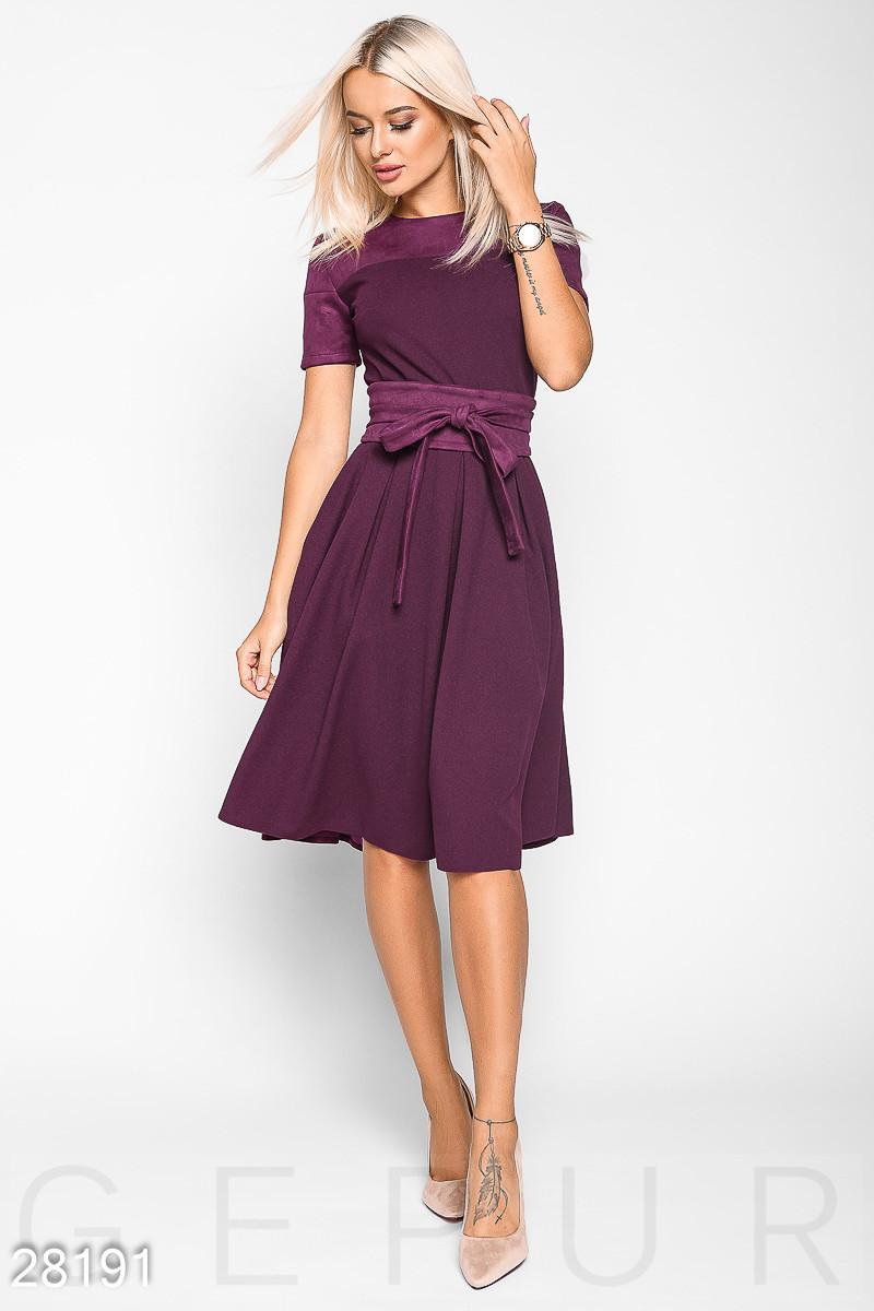Платье-миди А-силуэта с поясом фиолетовое