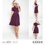 Платье-миди А-силуэта с поясом фиолетовое, фото 4